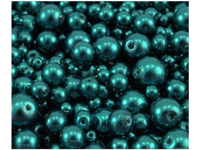 Voskované perly 4-12mm kulička (30g) - modrozelené