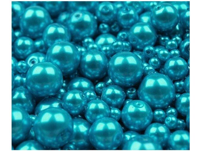 Voskované perly 4-12mm kulička (30g) - tyrkysové