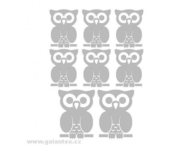 Reflexní nažehlovací potisk - sovy