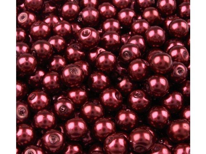 Voskované perly 6mm kulička (50ks) - vínové