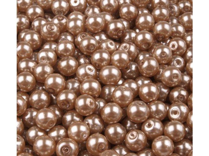 Voskované perly 6mm kulička (50ks) - zlatohnědé
