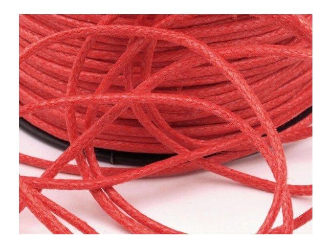 Šňůra bavlněná OE 1,5mm voskovaná - červenooranžová (5 metrů)
