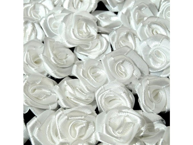 Růžička saténová Ø 10-12mm (10 kusů) - bílá