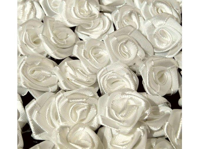 Růžička saténová OE 10-12mm (10 kusů) - krémově bílá