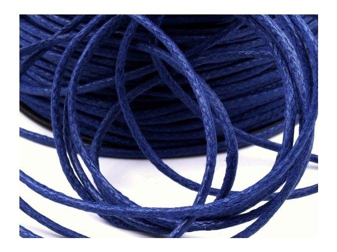 Šňůra bavlněná Ø 1,5mm voskovaná - modrá tmavá (5 metrů)