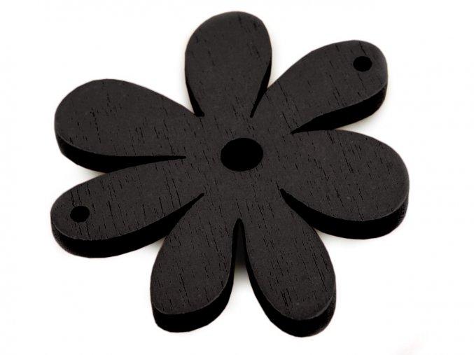 Dřevěné korálky / výsek 35x40mm  květinka - černá