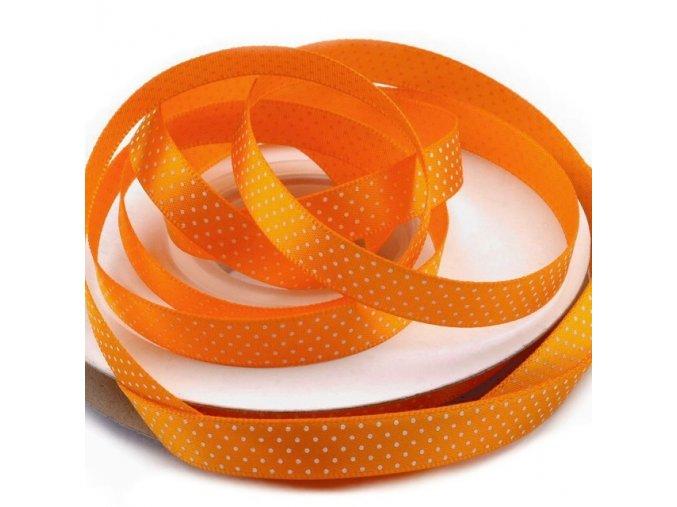 Saténová stuha šířka 10mm tečky  - oranžová