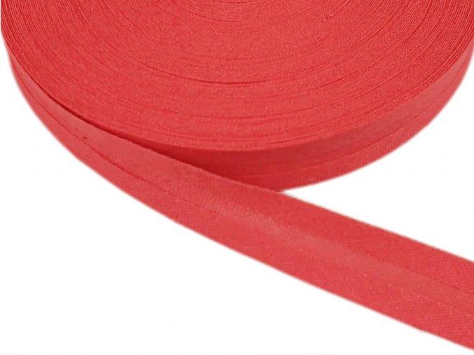 Šikmý proužek bavlněný šíře 14 mm - červený