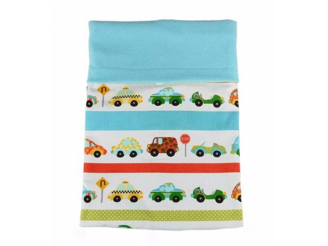 Dvojitá deka fleece - bavlna / sv. tyrkys - auta