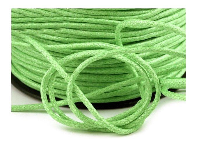 Šňůra bavlněná Ø 1,5mm voskovaná - sv. zelená (5 metrů)
