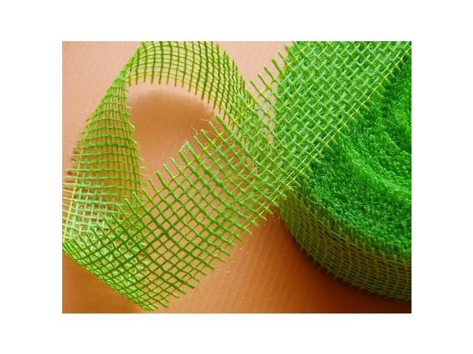 Jutová stuha šíře 40mm - zelená jarní