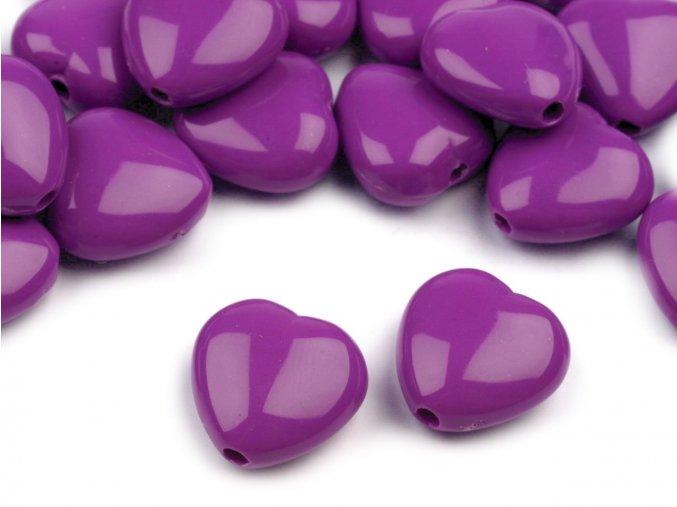 Korálky plastové 13mm Srdce (10ks) - fialové