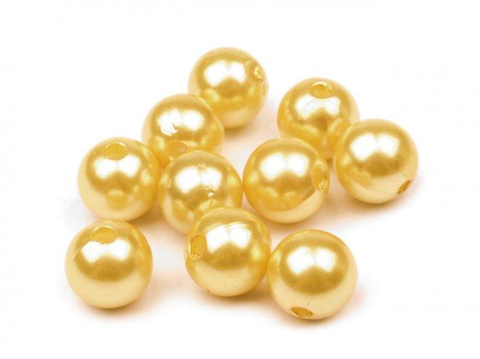 Voskované korálky plastové kulička 10mm (10ks) - žluté