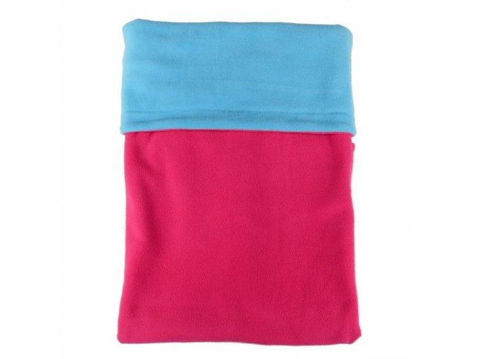 Dvojitá fleec deka / malinová - tyrkys