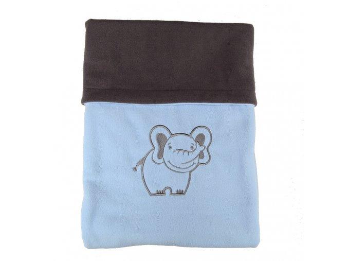 Dvojitá fleec deka s výšivkou Slon - tm. šedá / sv. modrá