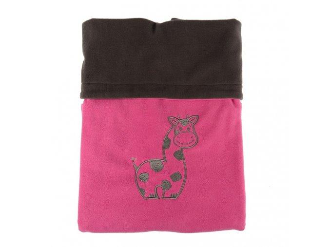 Dvojitá fleec deka s výšivkou Žirafa - tm. šedá / cyklámen
