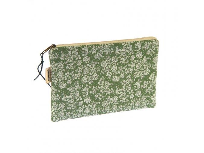 Taštička na zip - Růžičky na zelené