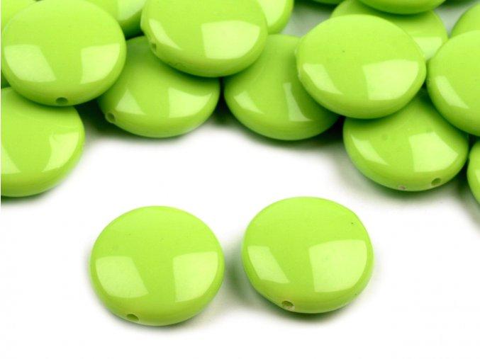 Korálky plastové 16mm Placka (10ks) - zelené