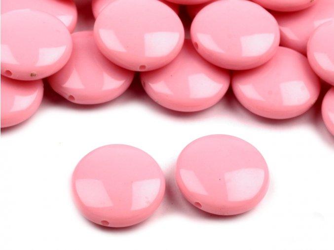 Korálky plastové 16mm Placka (10ks) - růžové