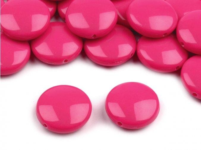 Korálky plastové 16mm Placka (10ks) - tm. růžové