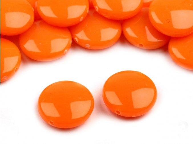 Korálky plastové 16mm Placka (10ks) - oranžové