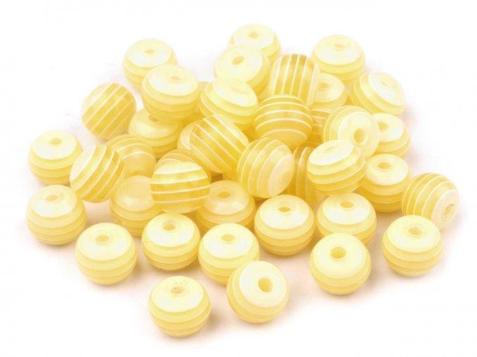 Korálky plastové Ø 8mm Kulička s proužkem (10kusů) - žluté