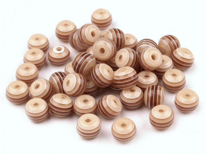 Korálky plastové Ø 8mm Kulička s proužkem (10kusů) - hnědé