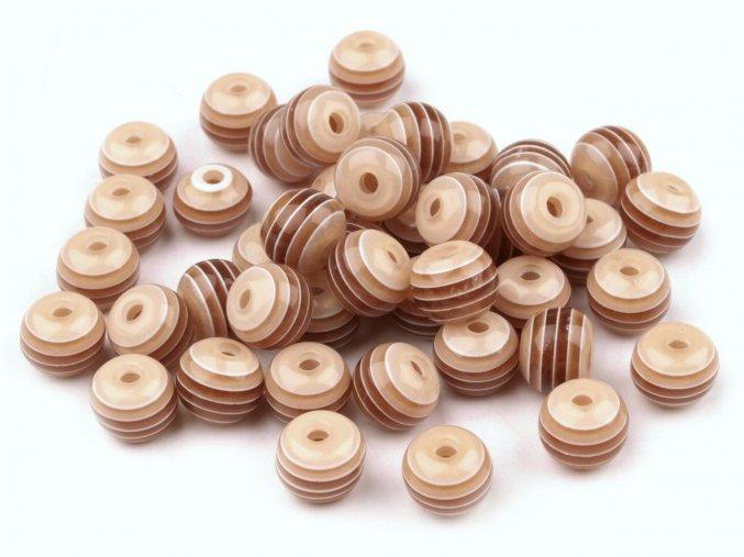 Korálky plastové OE 8mm Kulička s proužkem (10kusů) - hnědé