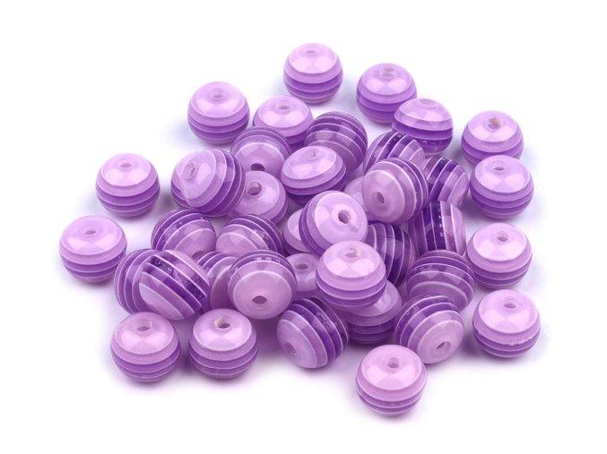 Korálky plastové Ø 8mm Kulička s proužkem (10kusů) - fialové