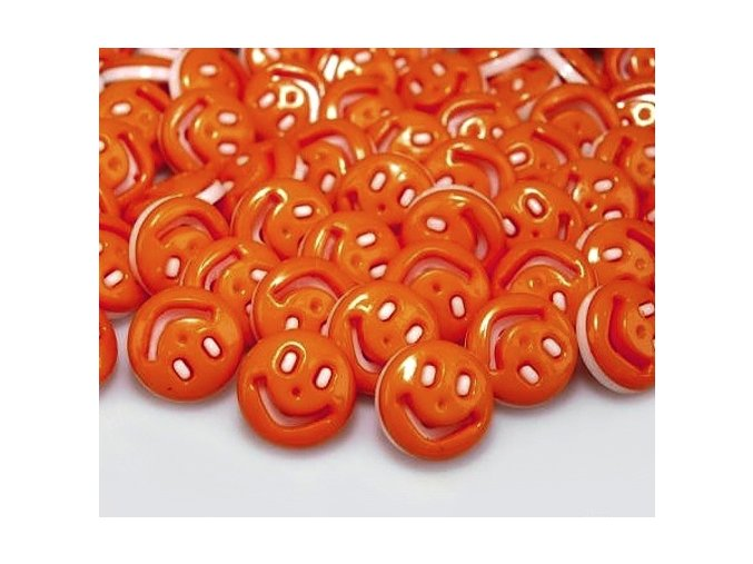 """Knoflík dětský 22"""" Smajlík - oranžový"""