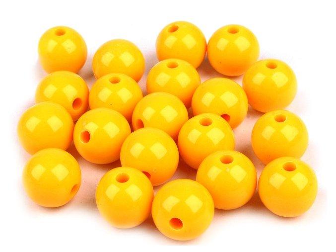 Korálky plastové 12mm Kulička (10ks) - žluté