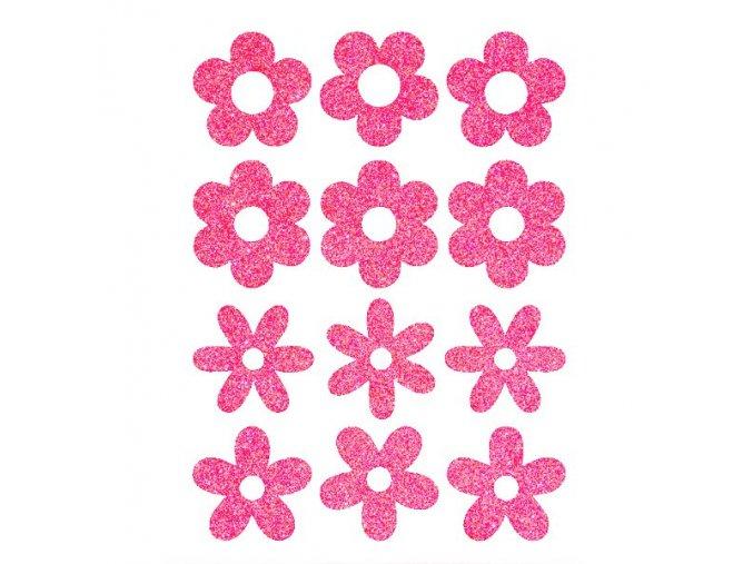 Nažehlovací glitrový potisk - květy (12 kusů)