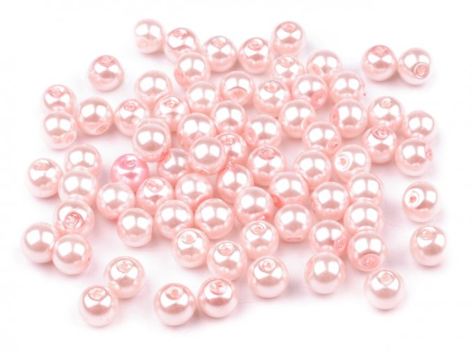 Voskované perly 6mm kulička (50ks) - sv. růžové