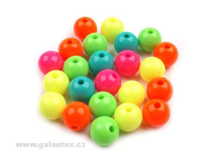Korálky plastové Ø 10mm kuličky - mix neonových barev (10kusů)
