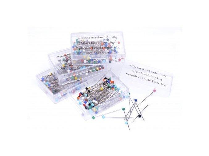 Špendlíky se skleněnou hlavičkou 0,6 x 30mm - 10g