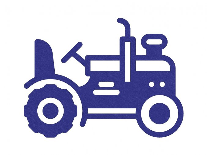 Sametový nažehlovací potisk - traktor / modrá
