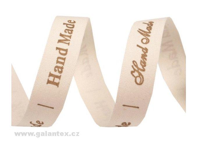 Bavlněná stuha šíře 15 mm s potiskem Hand Made