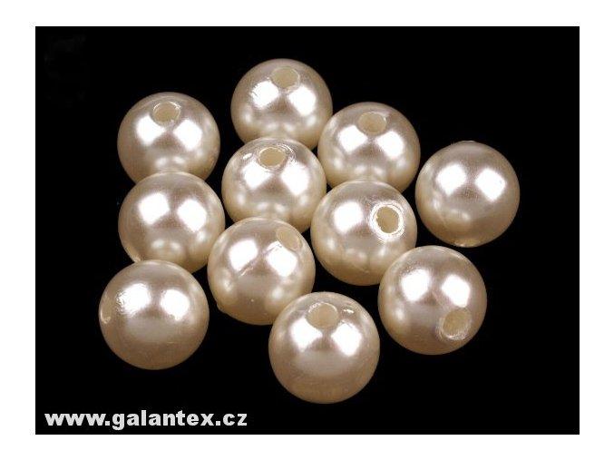 Voskované korálky plastové kulička 10mm (10ks) - perlové