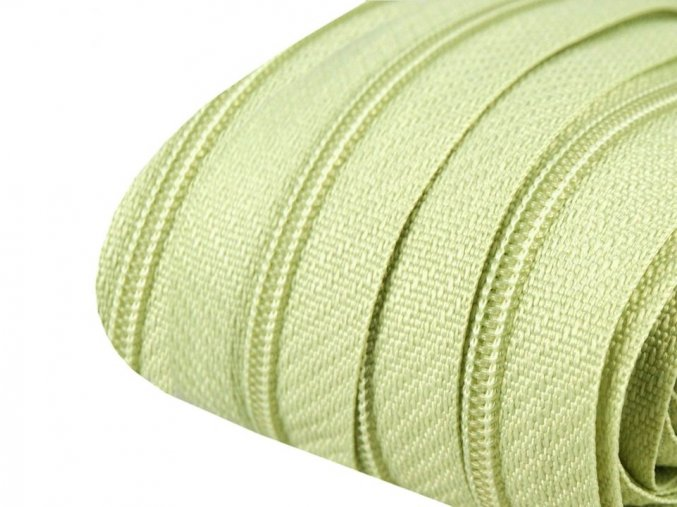 Zip spirálový 3 mm metráž - zelenkavý