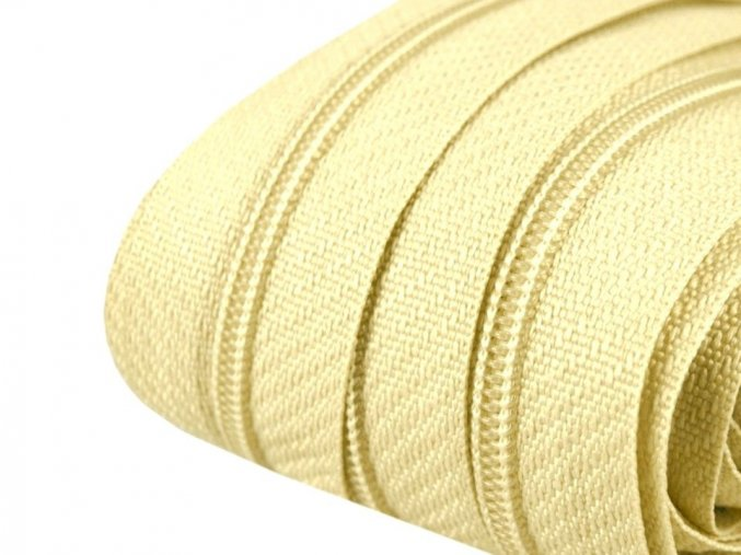 Zip spirálový 3 mm metráž - žlutý světlý