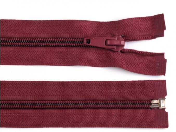 Zip spirálový dělitelný 5 mm / 40 cm - vínový
