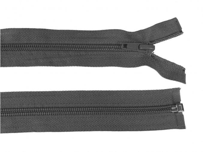 Zip spirálový dělitelný 5 mm / 40 cm - šedý tmavý