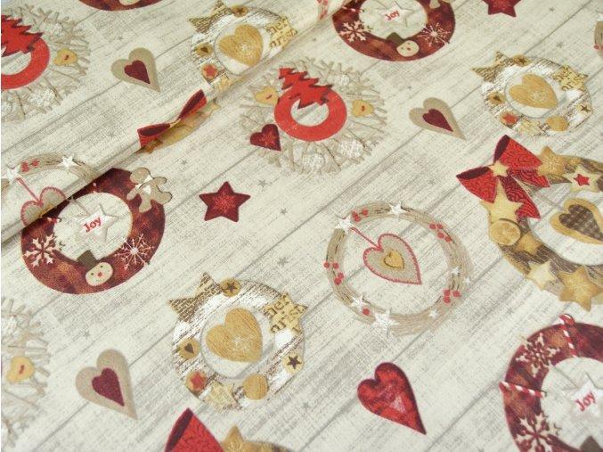 Bavlněné plátno Vánoční věnce