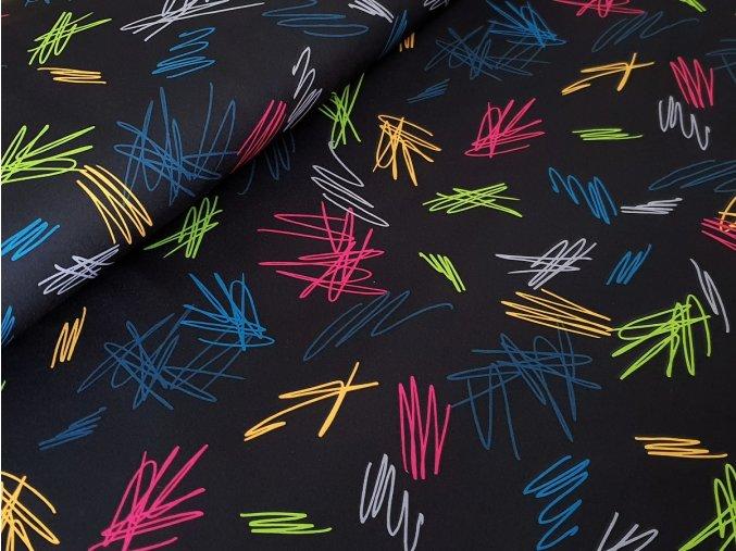 Softshell zimní - barevné čáry na černé