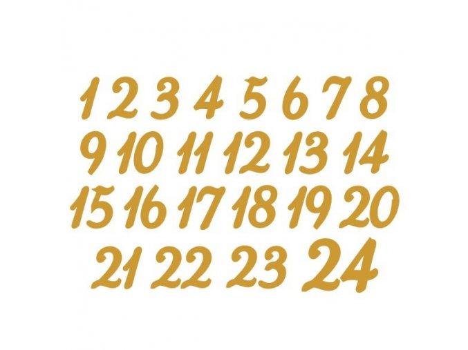 Metalický nažehlovací potisk - adventní čísla zlatá