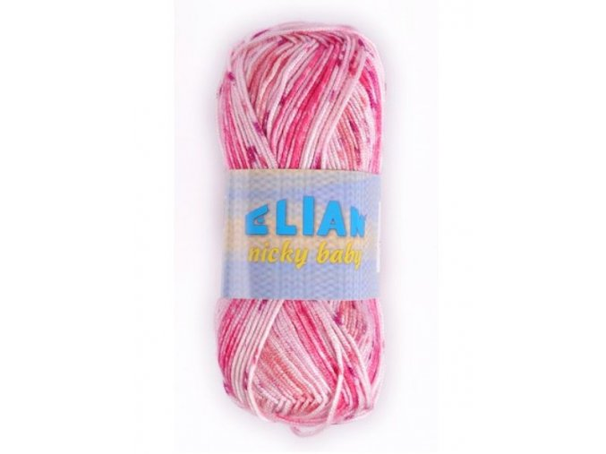 Pletací příze Elian Nicky baby / 126 - růžovo/bílá
