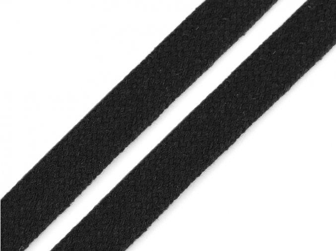 Oděvní šňůra plochá 12 mm - černá