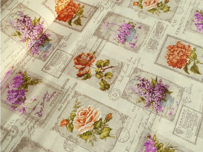 Dekorační látka Pohlednice s květy