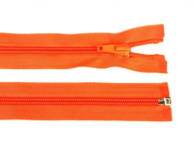 Zip spirálový dělitelný 5 mm / 40 cm - oranžový neonový