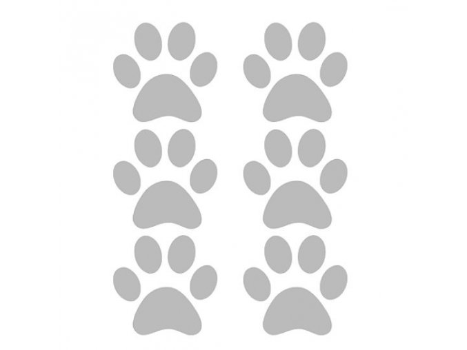 Reflexní nažehlovací potisk - tlapky (6 kusů)